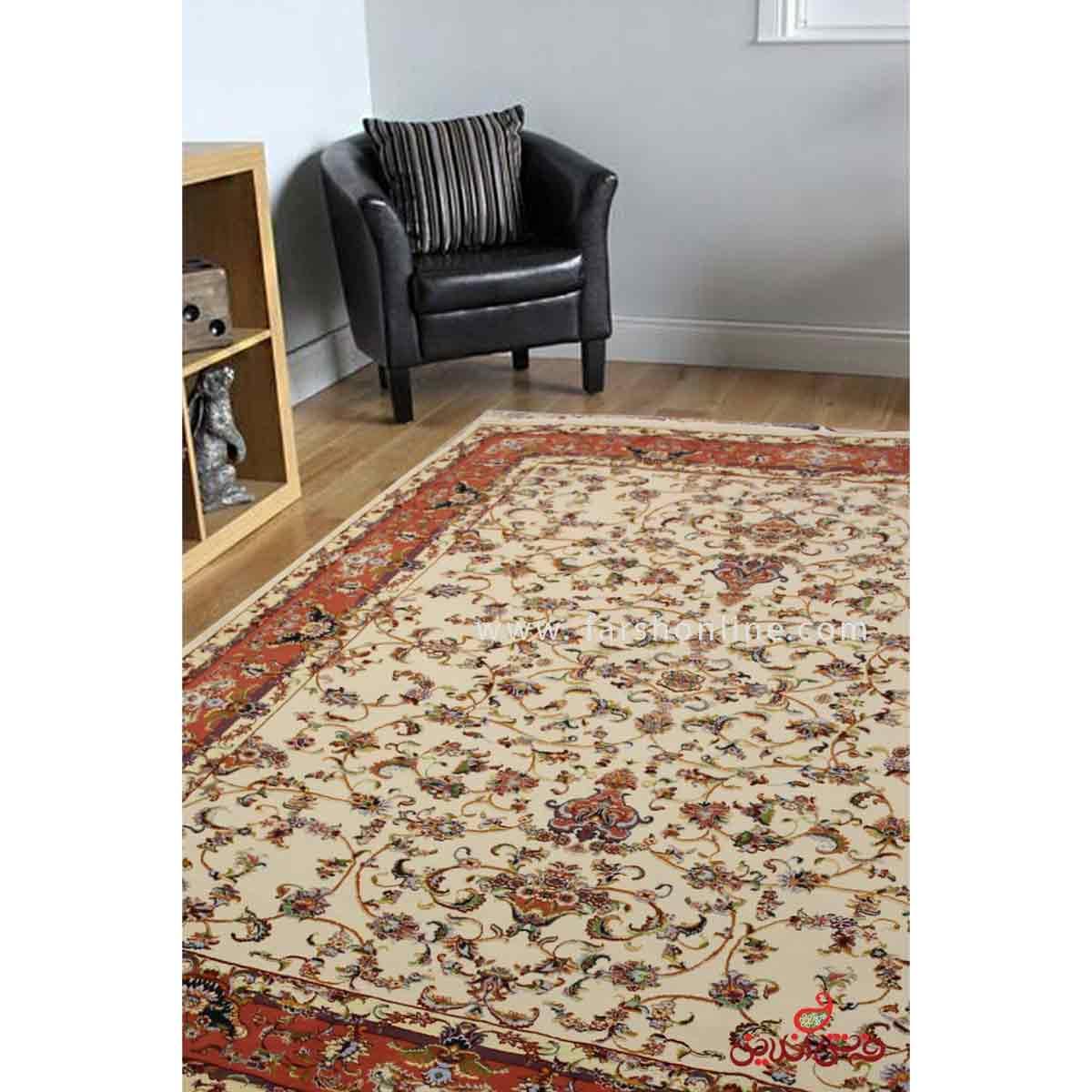 فرش ماشینی عرش طرح آیسان کرم