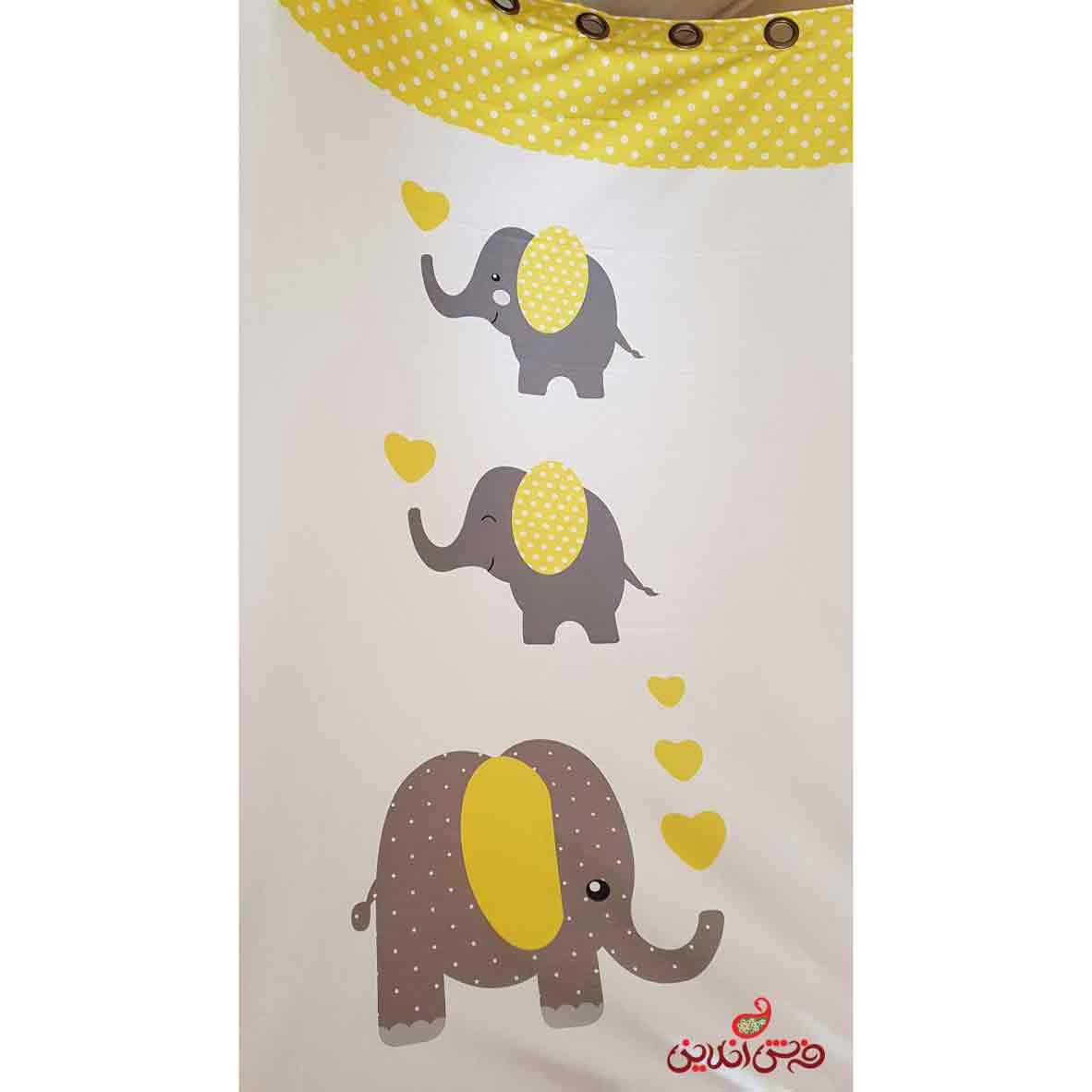 پرده تک تخته کودک آماده ارسال طرح فیل ها کد 2365