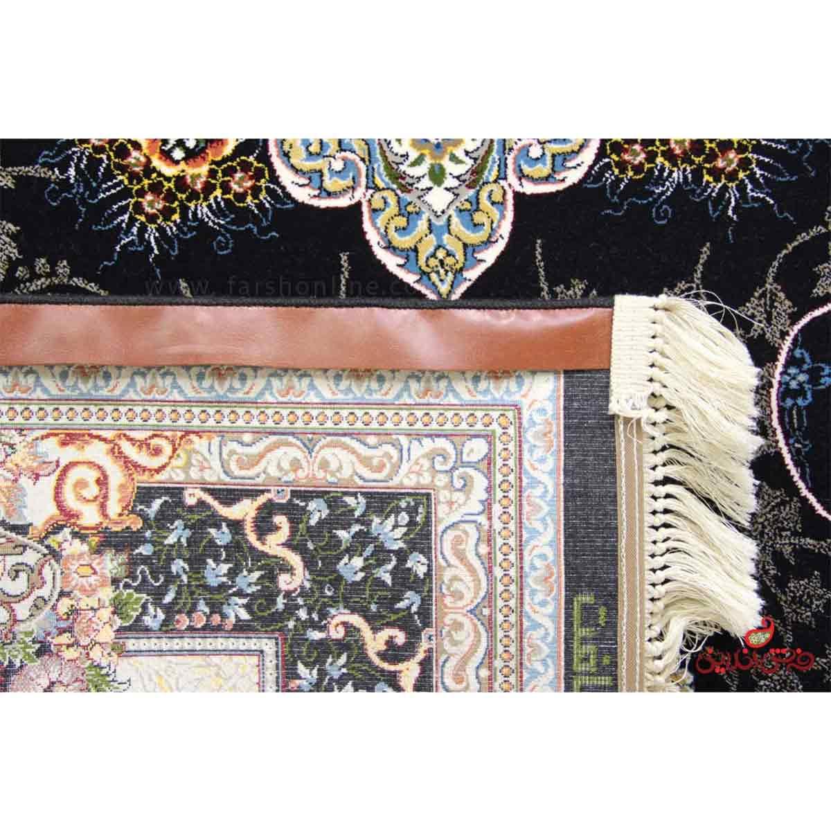 فرش ماشینی شاهکار نفیس تبریز طرح هیوا سرمه ای
