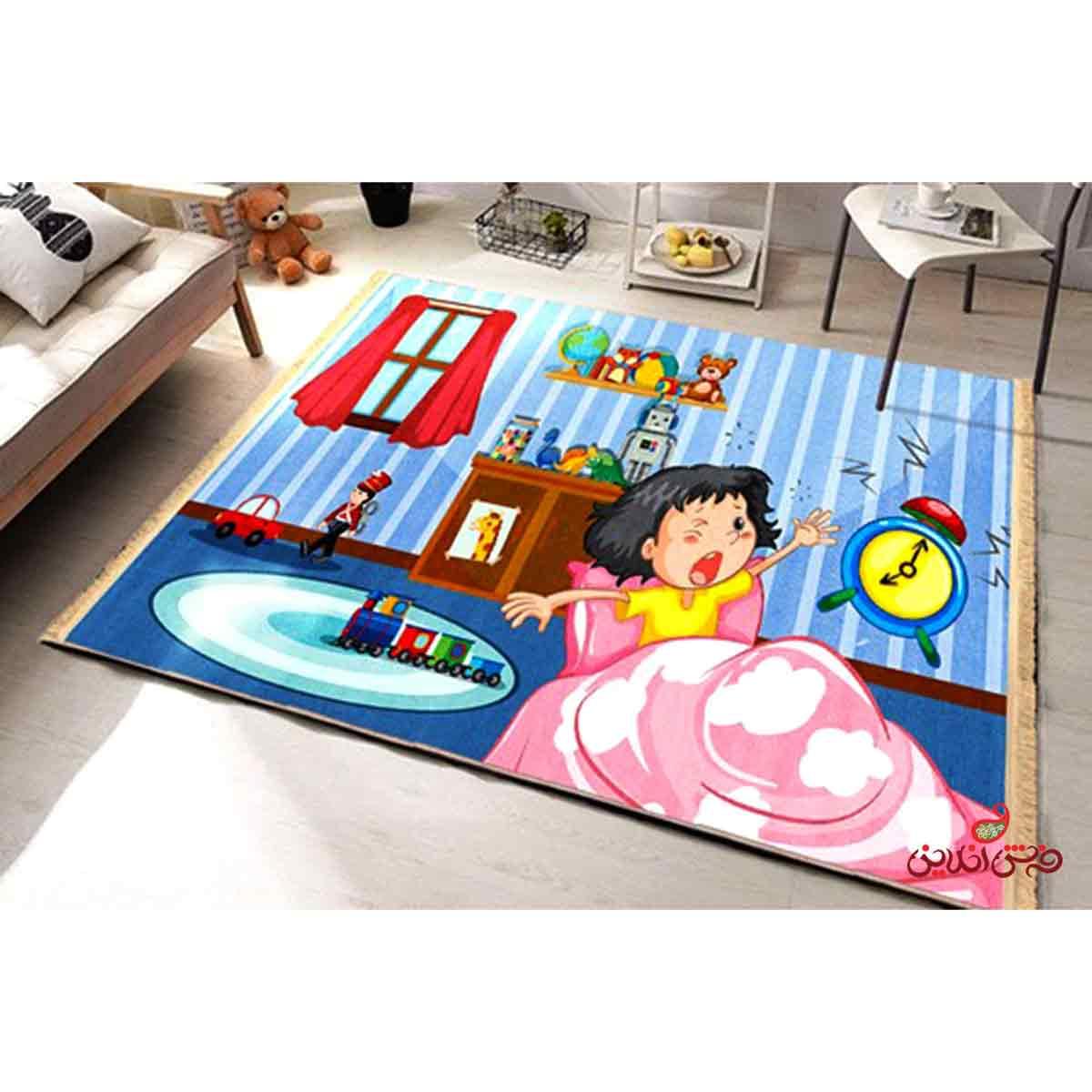 فرش ماشینی کودک کلاریس طرح کودک خوابالو کد 100248