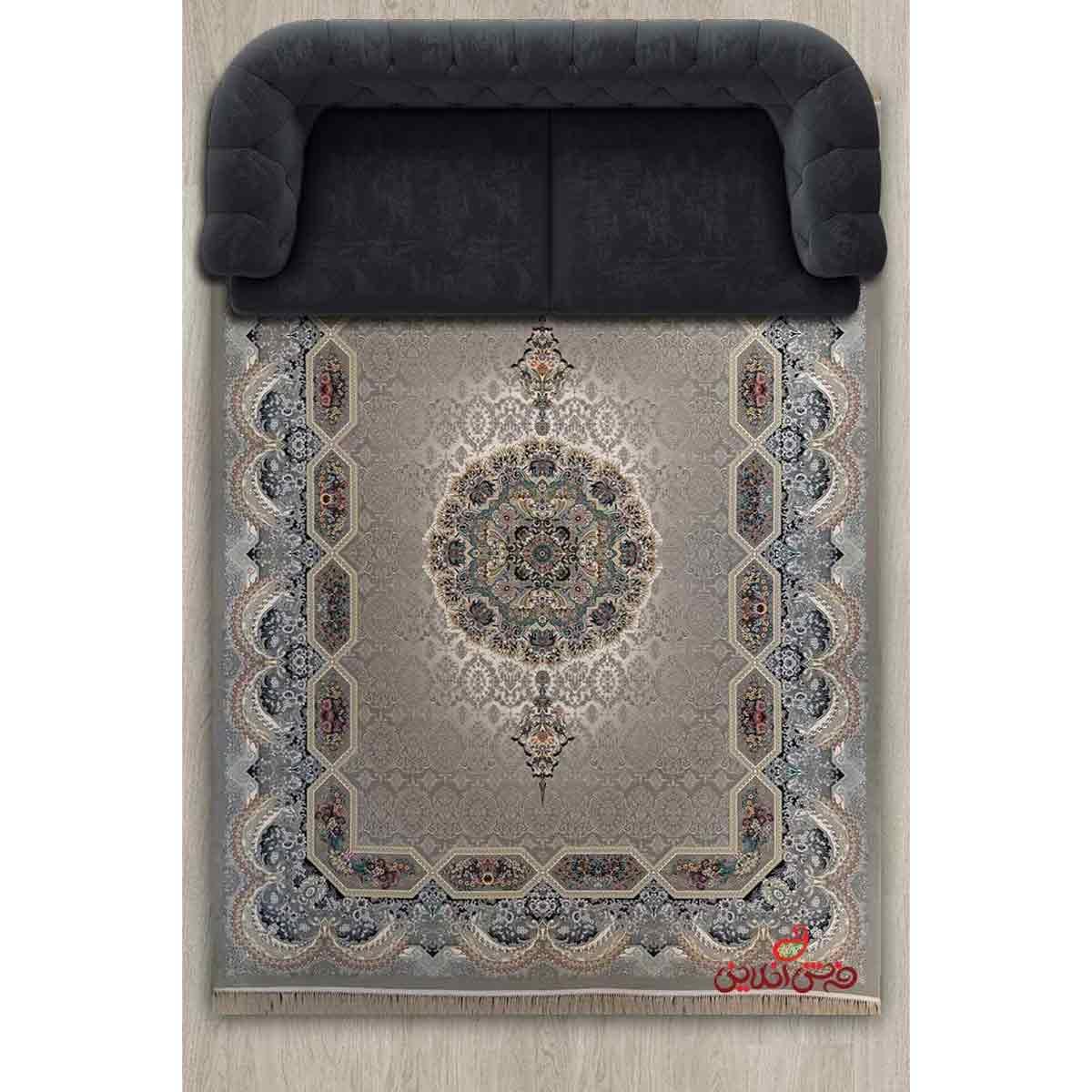 فرش ماشینی برین کاشان طرح هالیدی نقره ای