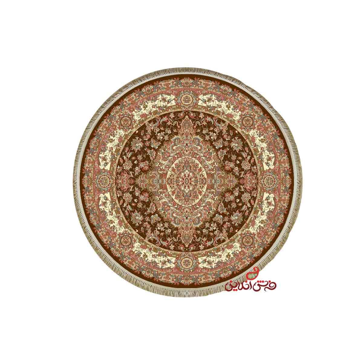 فرش گرد کرامتیان طرح رویال قهوه ای