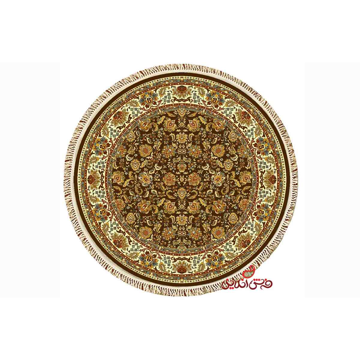 فرش گرد کرامتیان طرح همدان قهوه ای