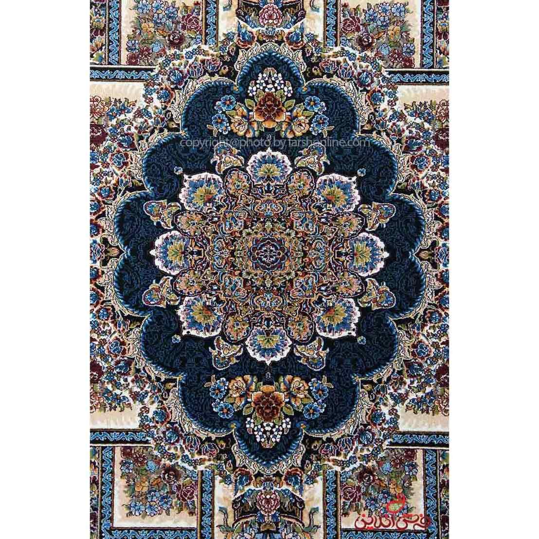 فرش ماشینی اصل طرح ناردون سرمه ای