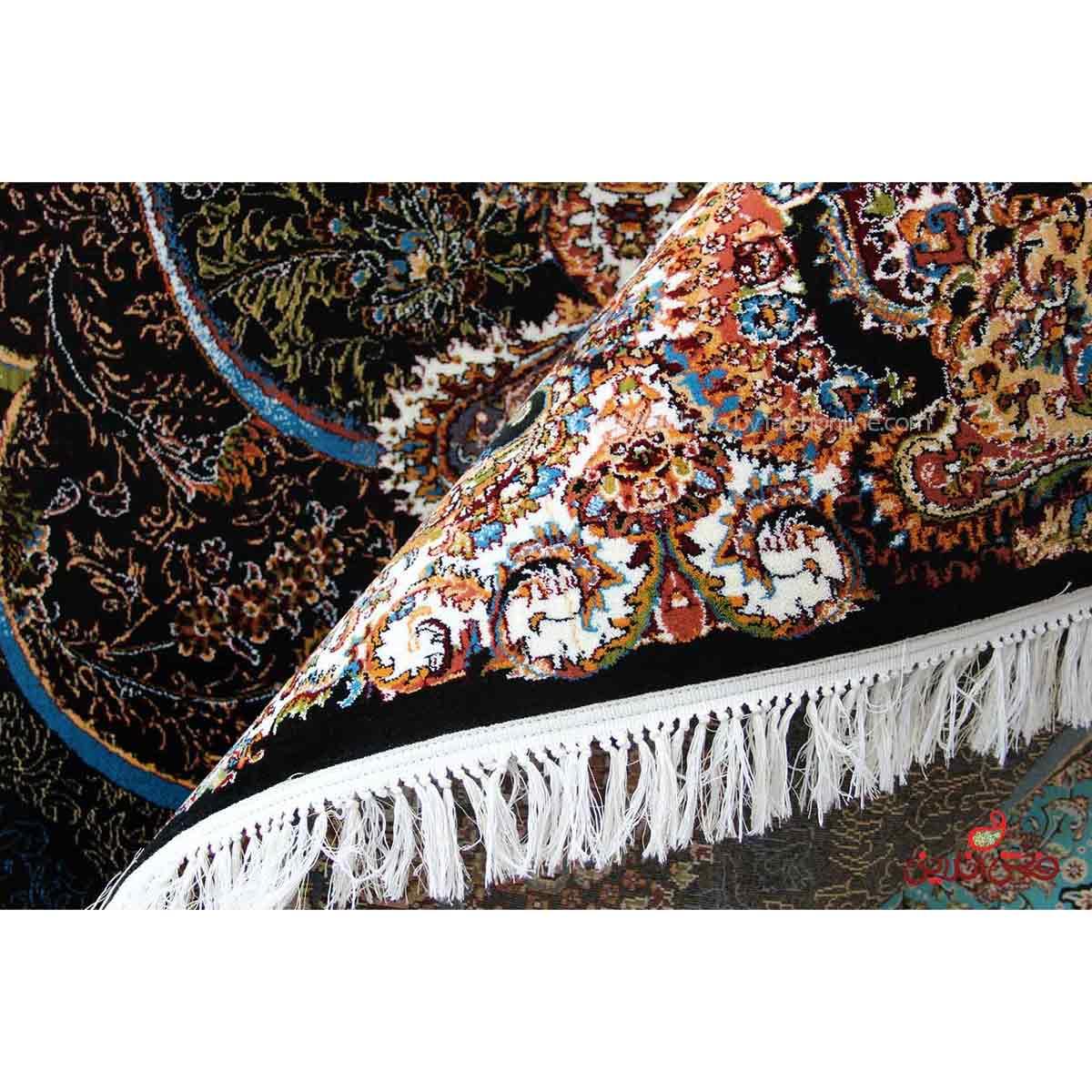 فرش ماشینی اصل طرح پانیذ سرمه ای