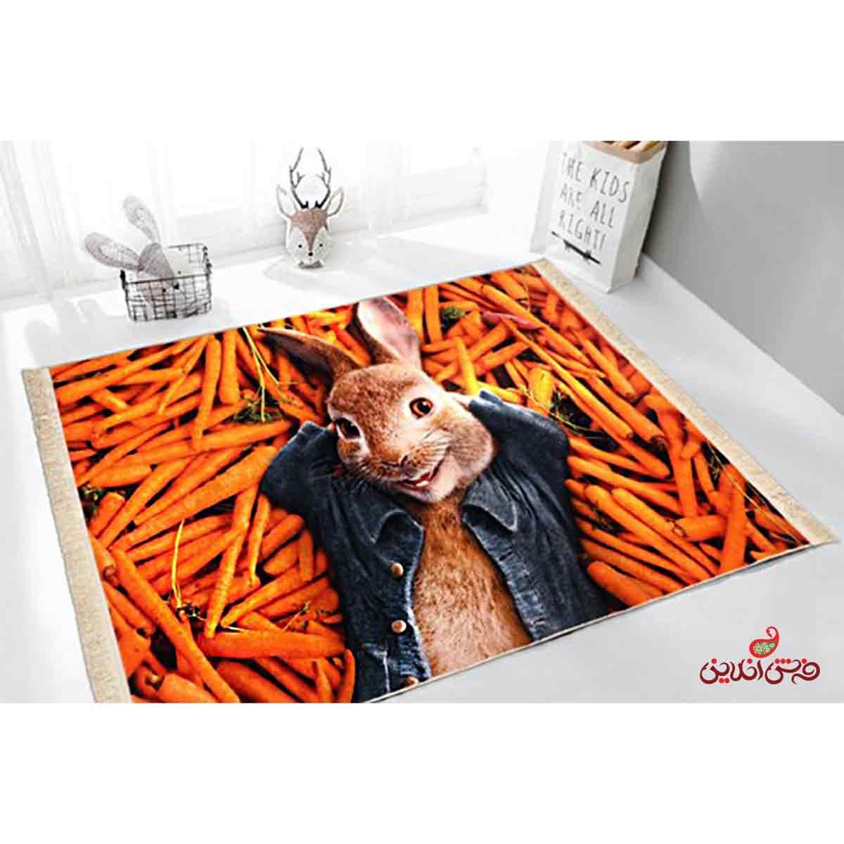 فرش ماشینی کودک کلاریس طرح پیتر خرگوشه کد 100219