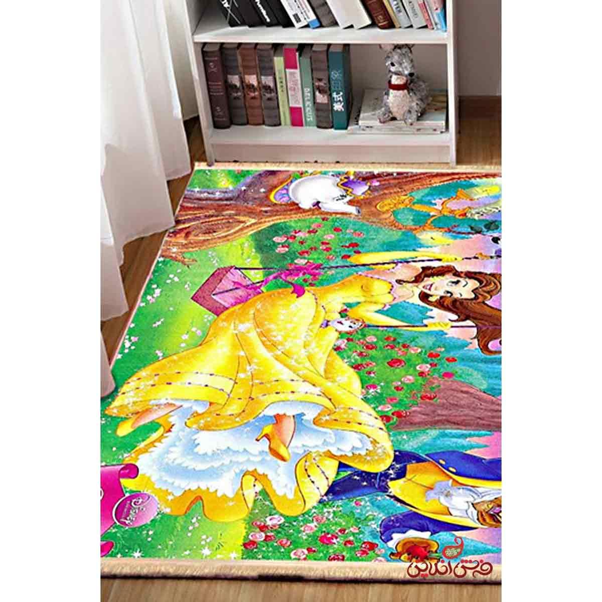 فرش ماشینی کودک کلاریس طرح دیو و دلبر کد 100223