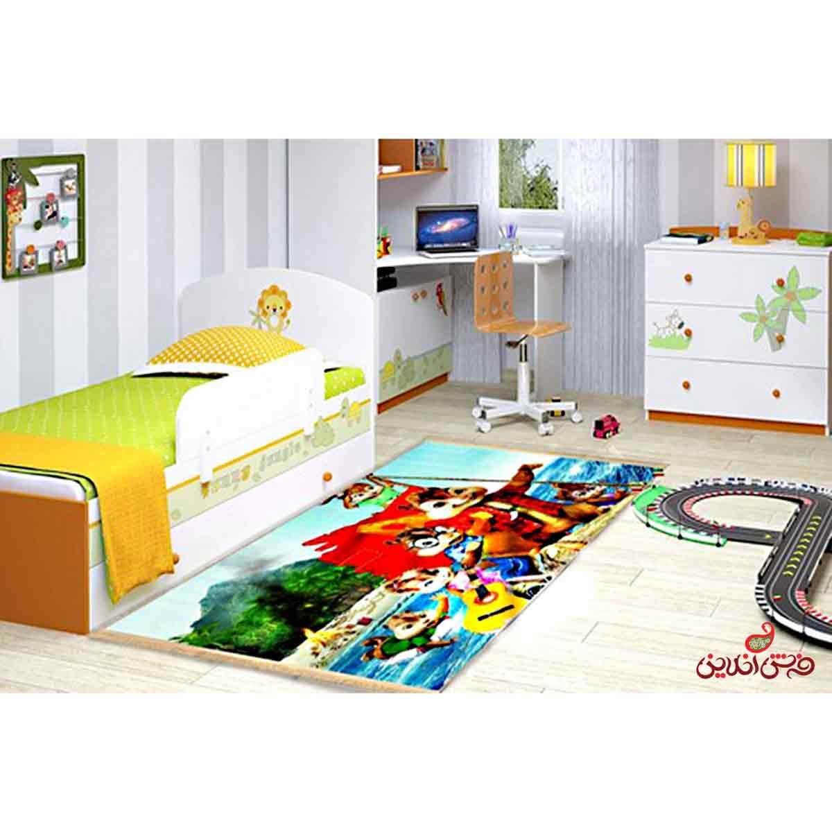فرش ماشینی کودک کلاریس طرح آلوین و سنجاب ها کد 100201