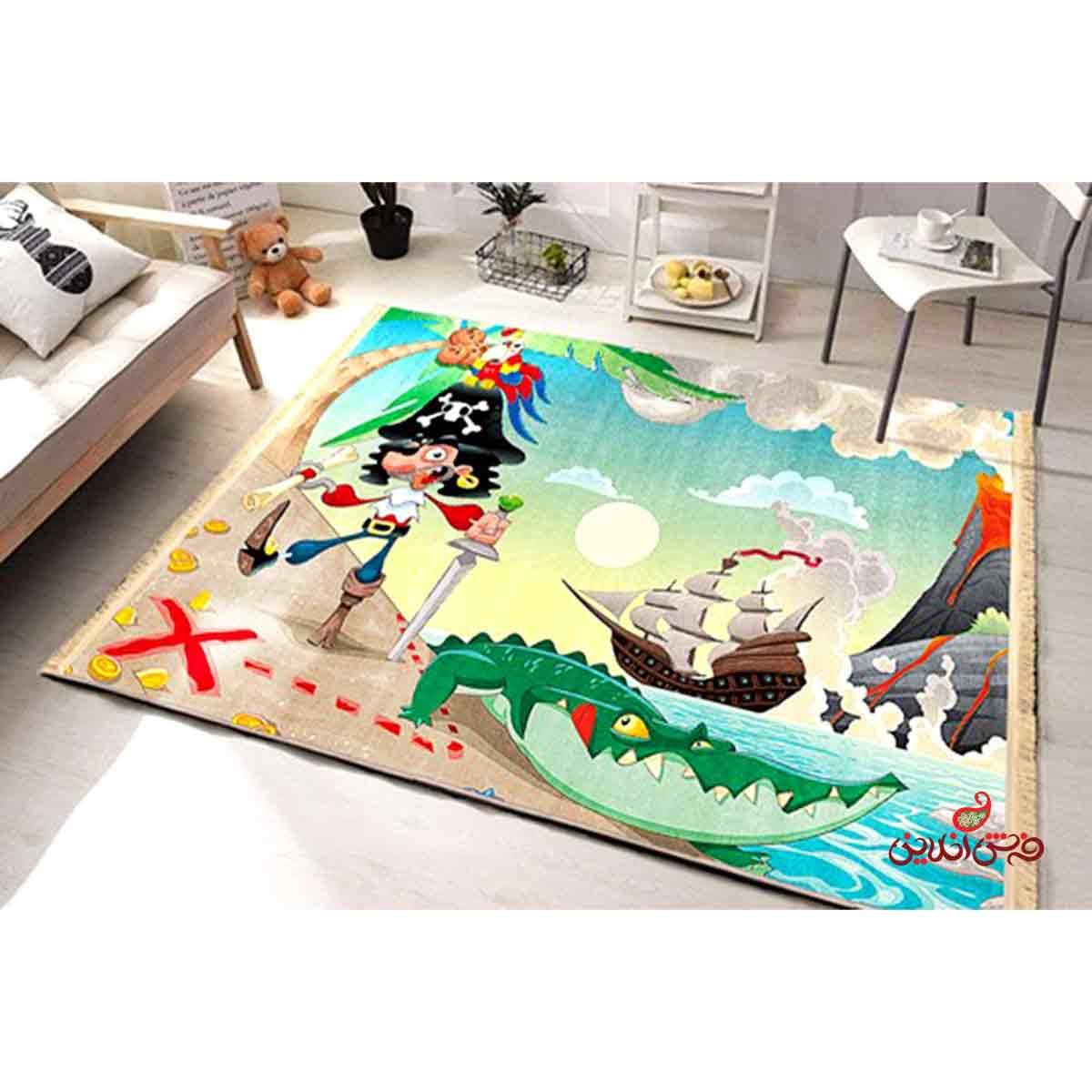 فرش ماشینی کودک کلاریس طرح دزد دریایی کد 100224