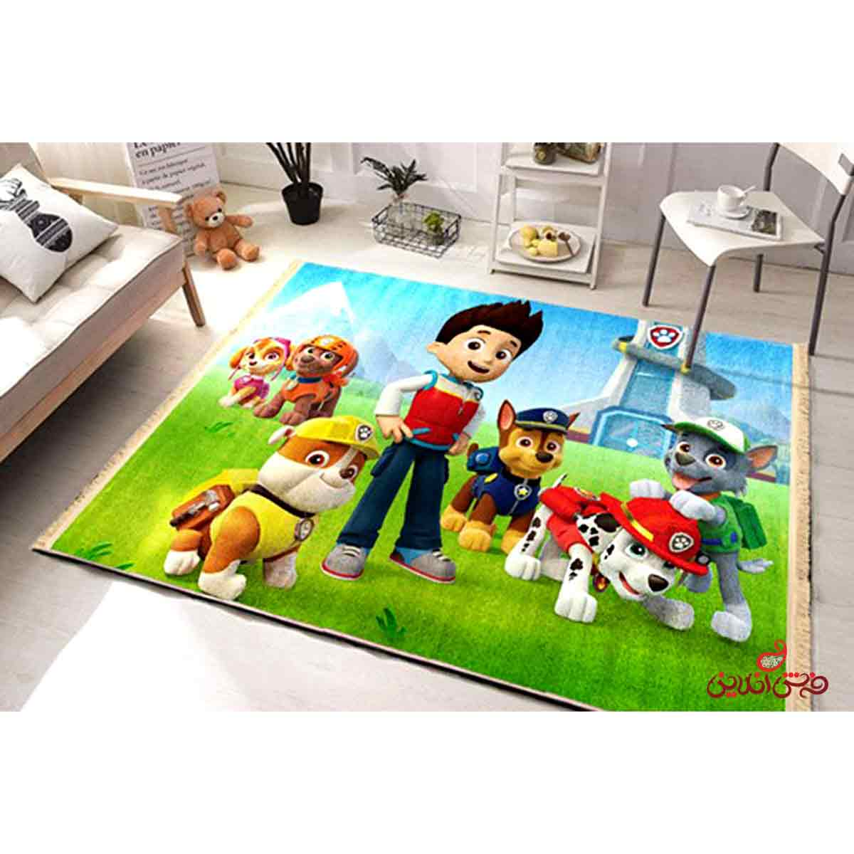فرش ماشینی کودک کلاریس سگ های نگهبان کد 100205