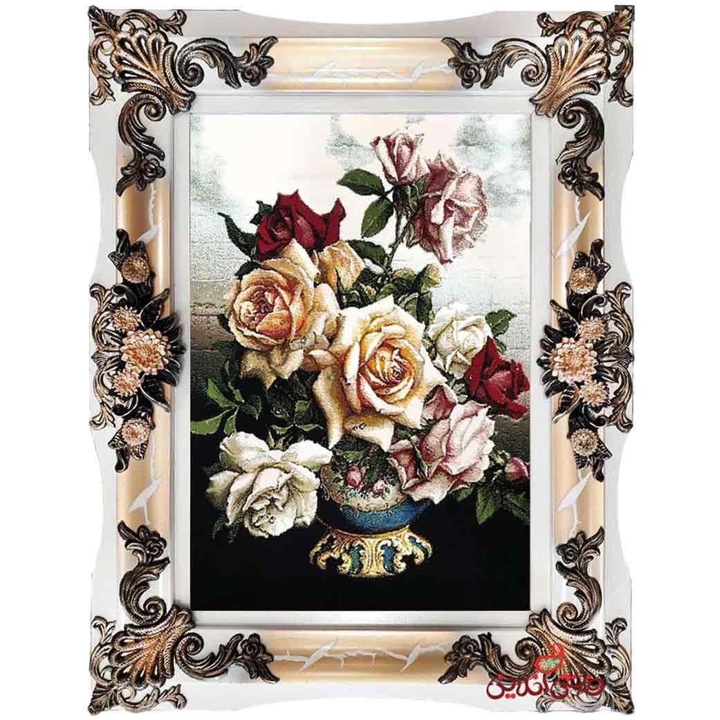 تابلو فرش ماشینی طرح گلدان کد 12