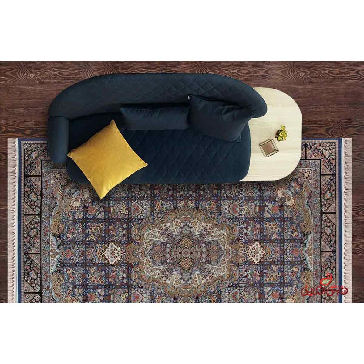 فرش ماشینی هایبالک برلیان طرح نیلوآبی