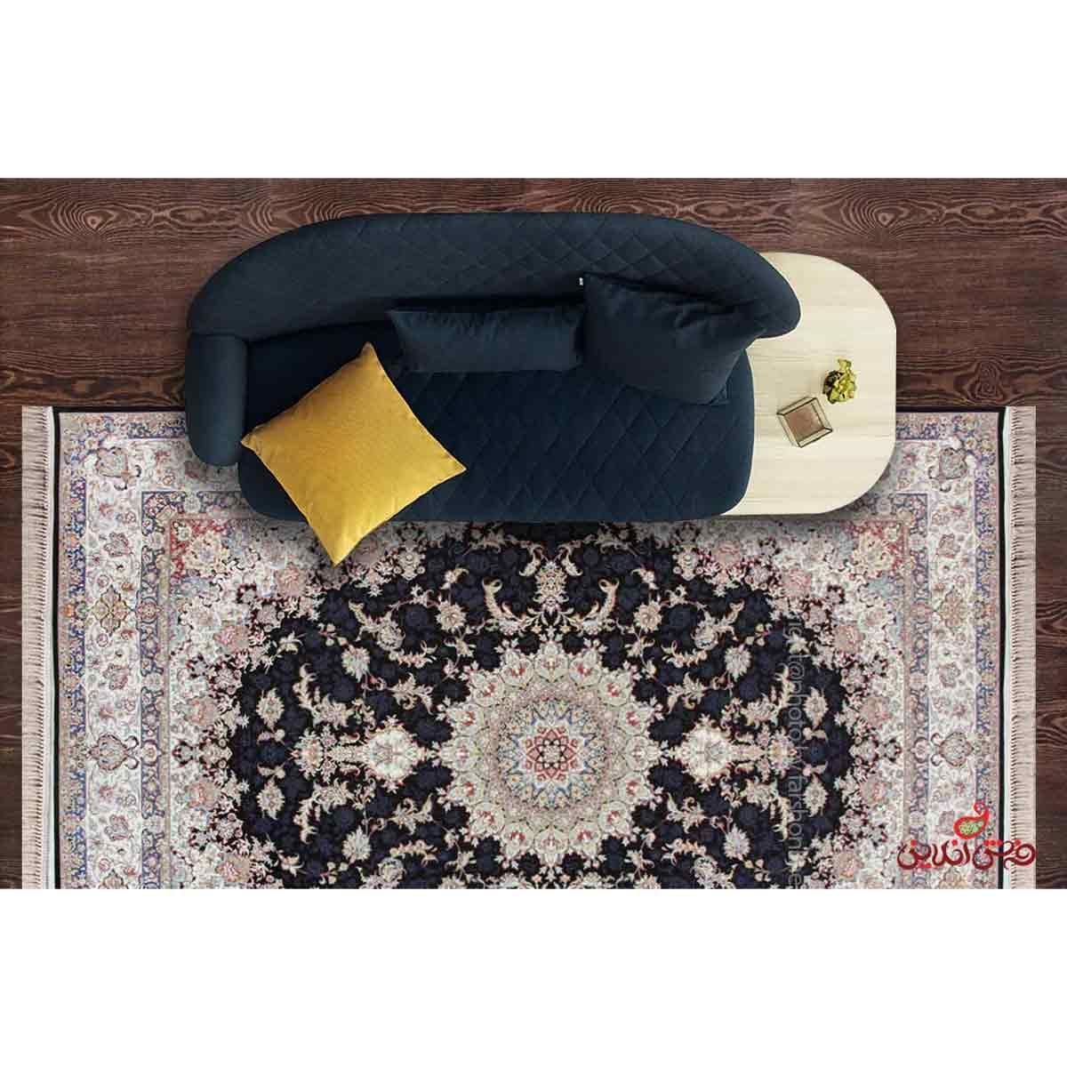 فرش ماشینی هایبالک برلیان طرح گلستان قهوه ای