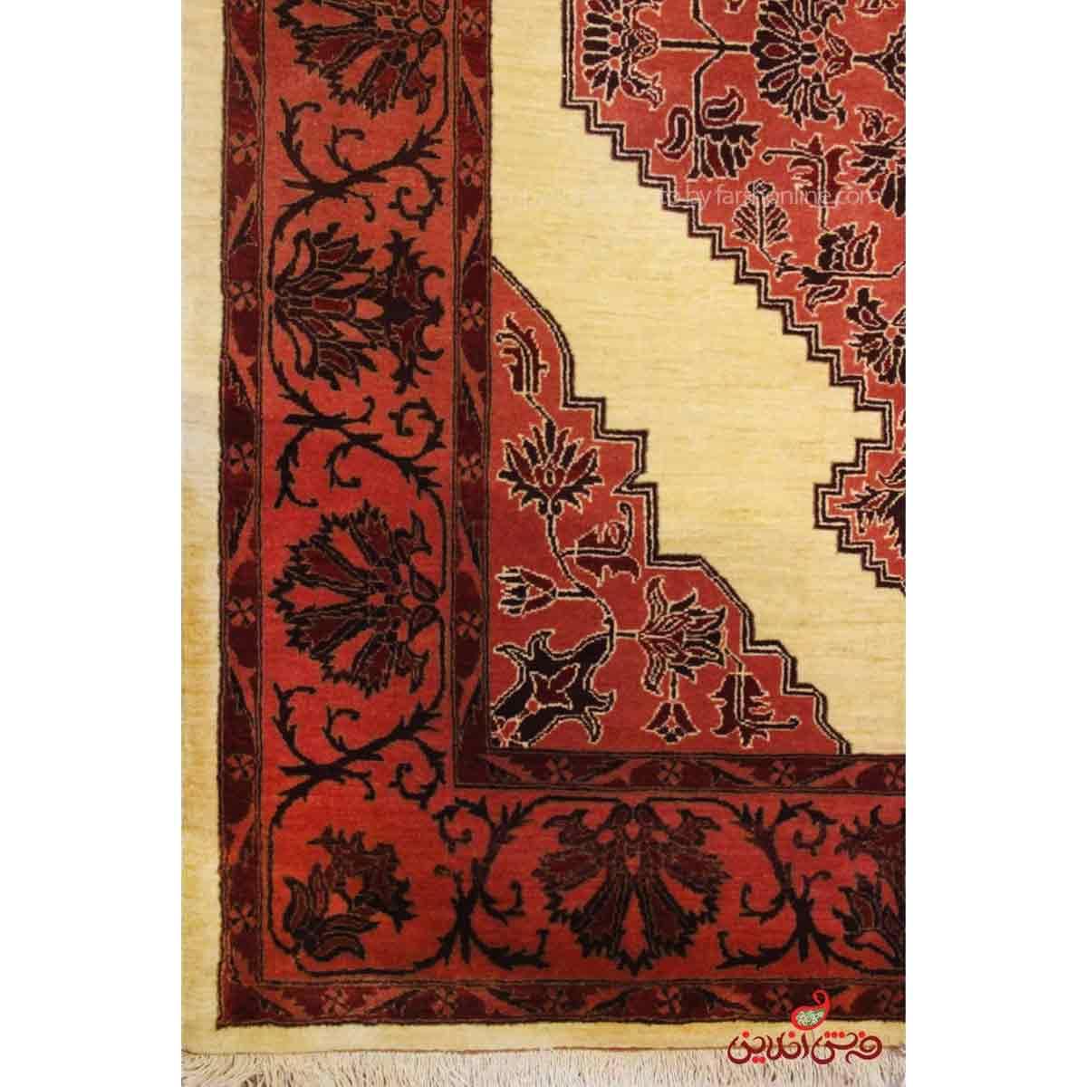 فرش دستباف کردستان کرم کد 107790