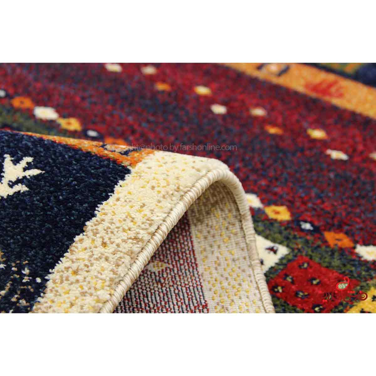 فرش ماشینی ساوین طرح زنبق کرم