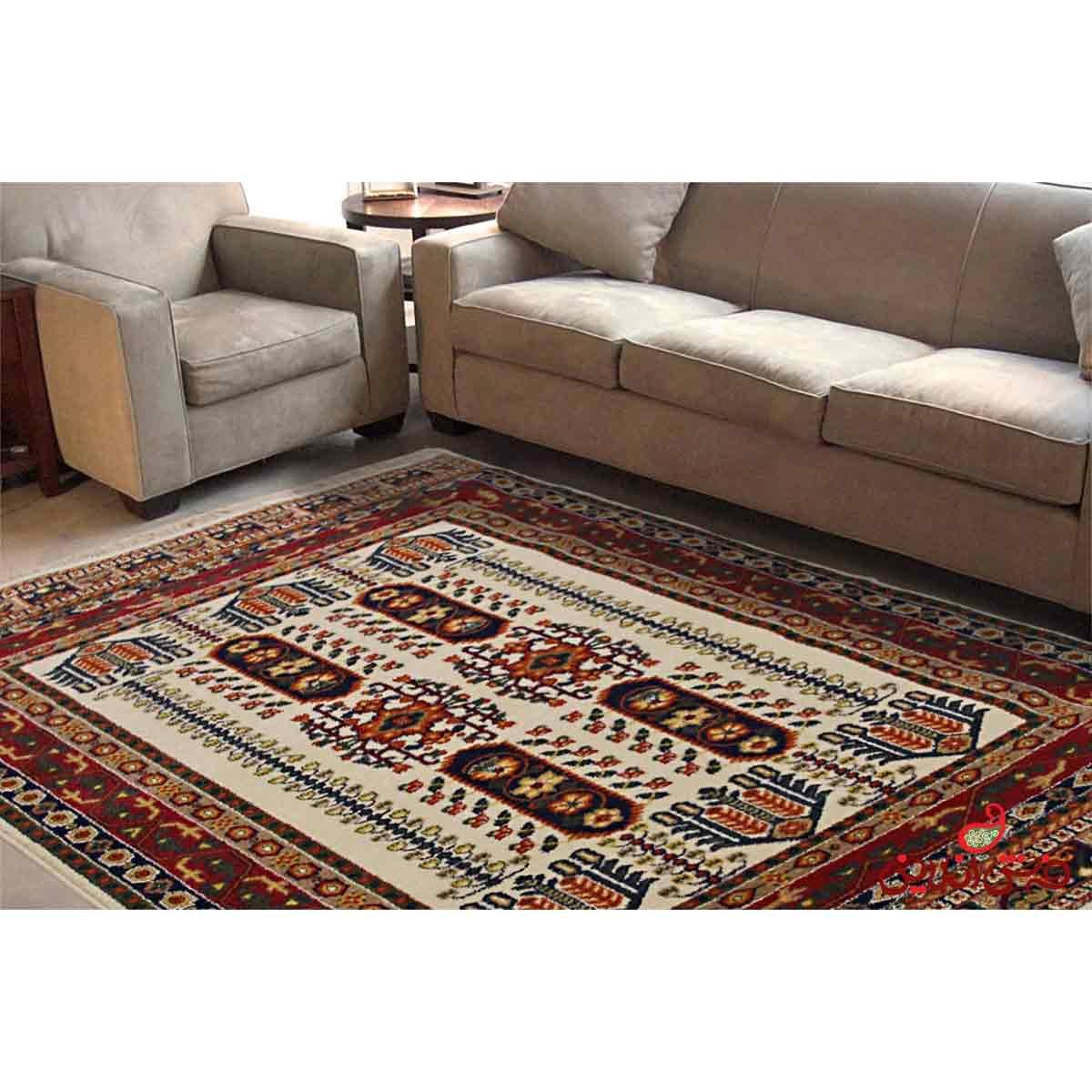 فرش ماشینی ساوین طرح بهرخ کرم
