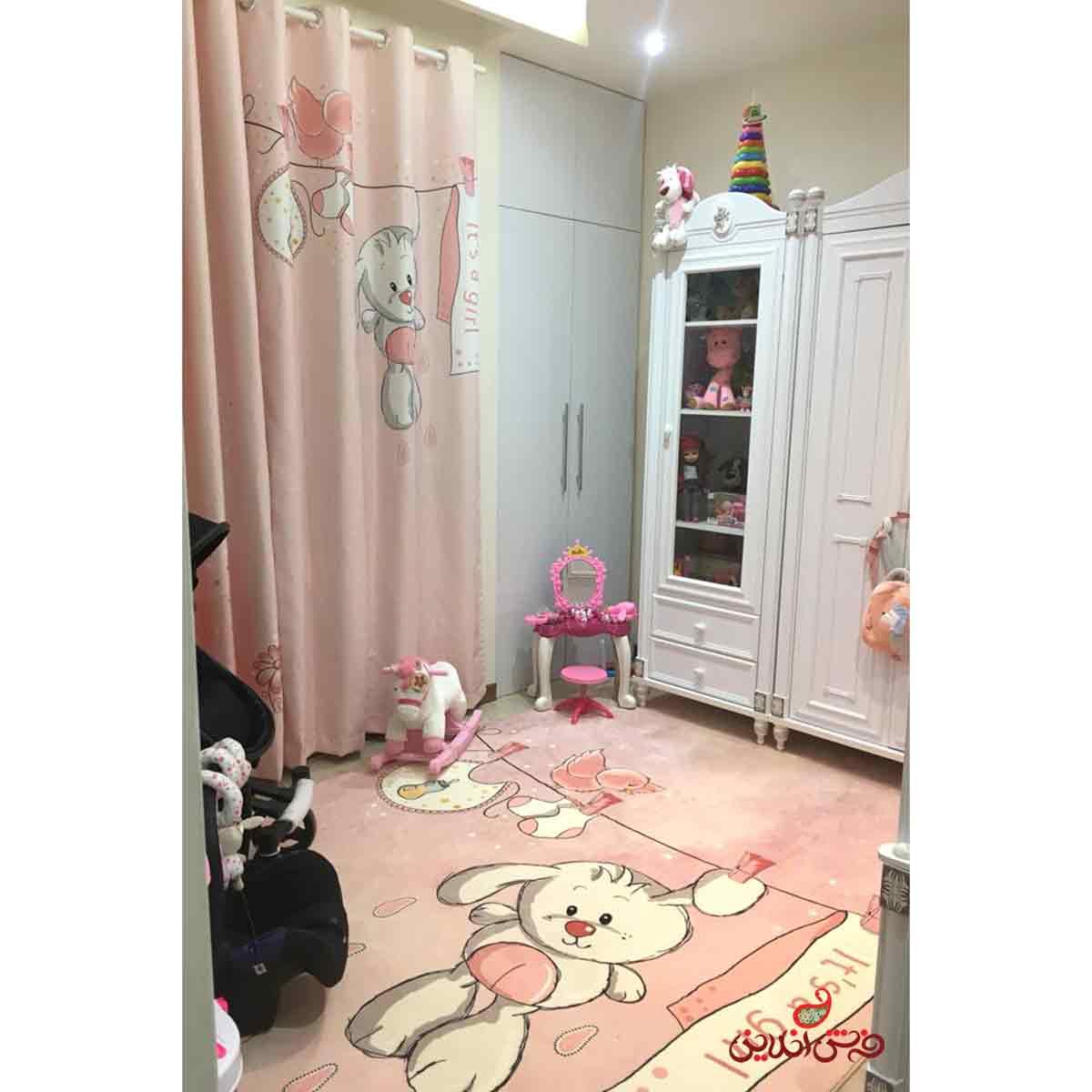 پرده 2عددی کودک طرح خرگوش و بند رخت کد 2221