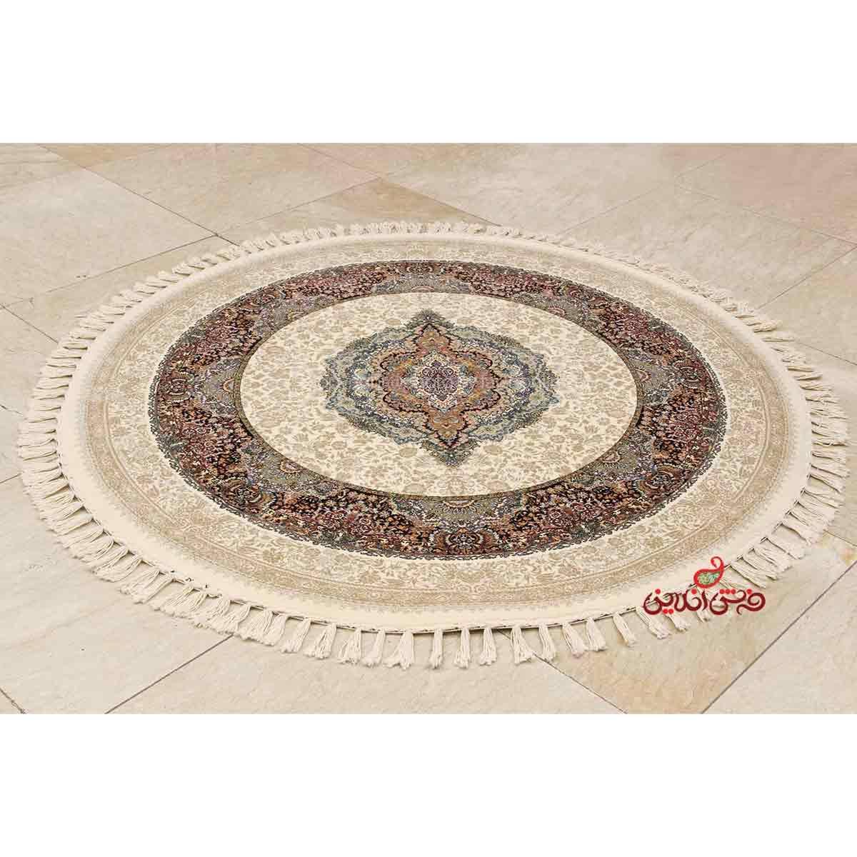 فرش ماشینی گرد ساوین طرح جهان نما کرم