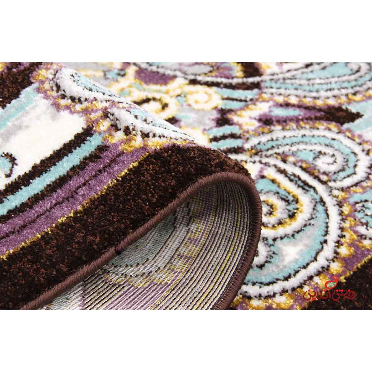 فرش ماشینی ساوین طرح شاه گل قهوه ای