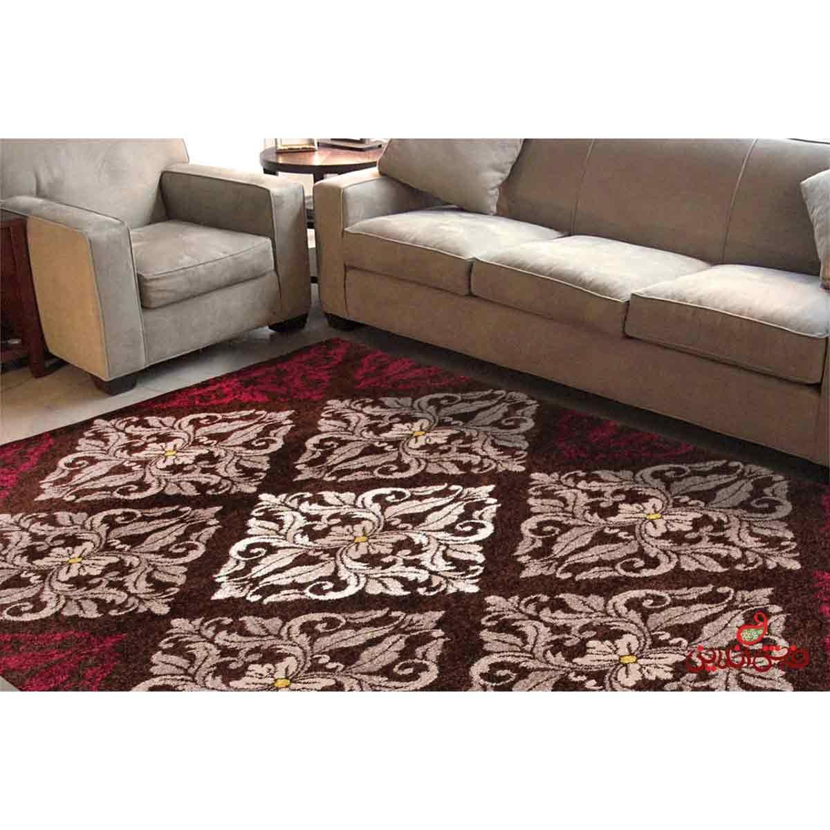 فرش ماشینی  ساوین طرح کرانه قهوه ای