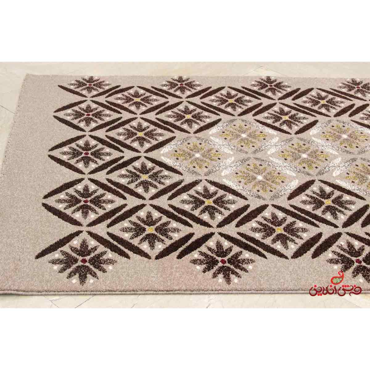 فرش  ماشینی ساوین طرح رایان شکلاتی