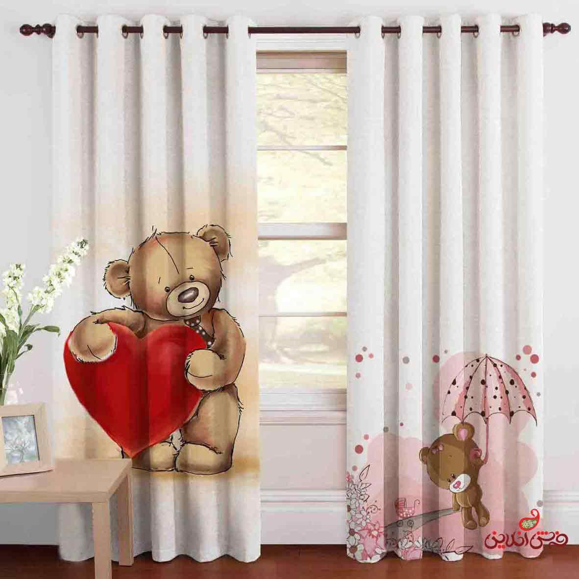 پرده 2عددی کودک طرح خرس قهوه ای و قلب قرمز کد 2099