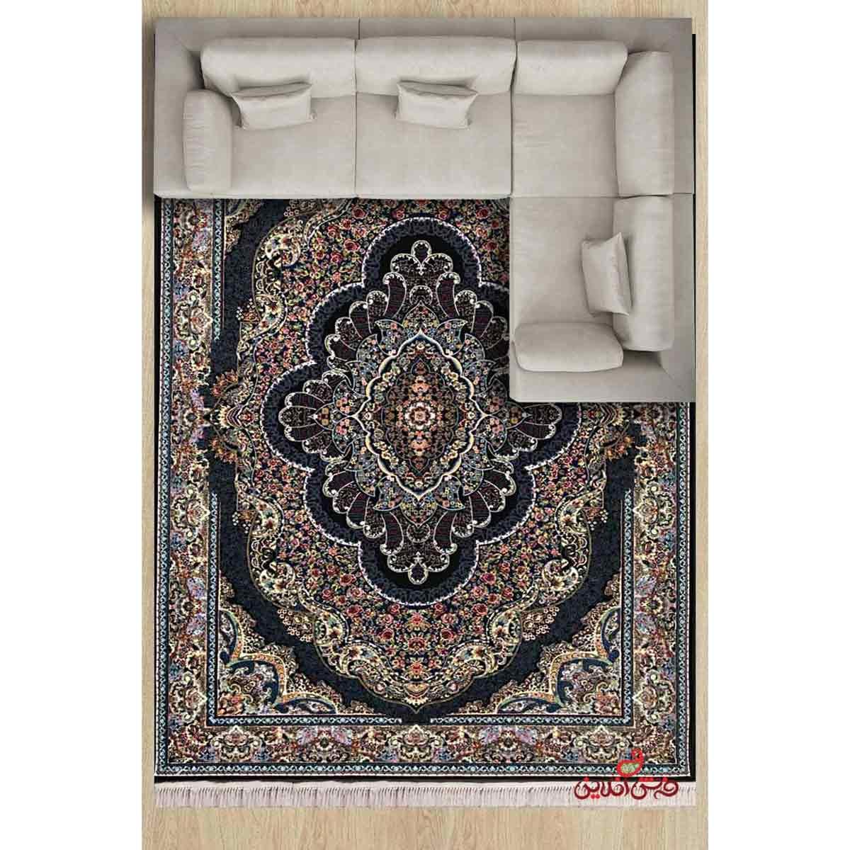 فرش ماشینی توس مشهد طرح پاشا سرمه ای