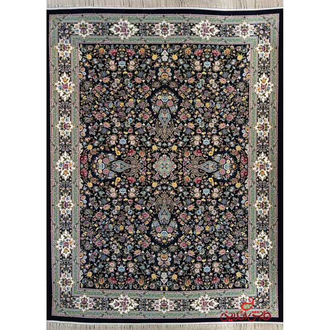 فرش ماشینی برین کاشان طرح کیمیای سعادت سرمه ای