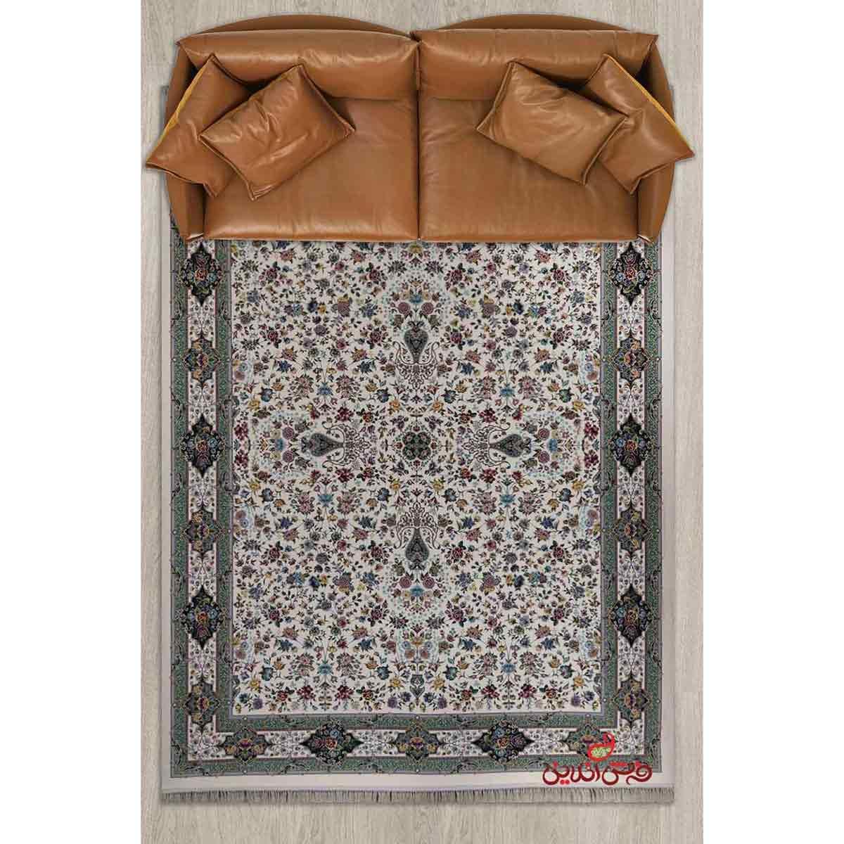 فرش ماشینی برین کاشان طرح کیمیای سعادت کرم