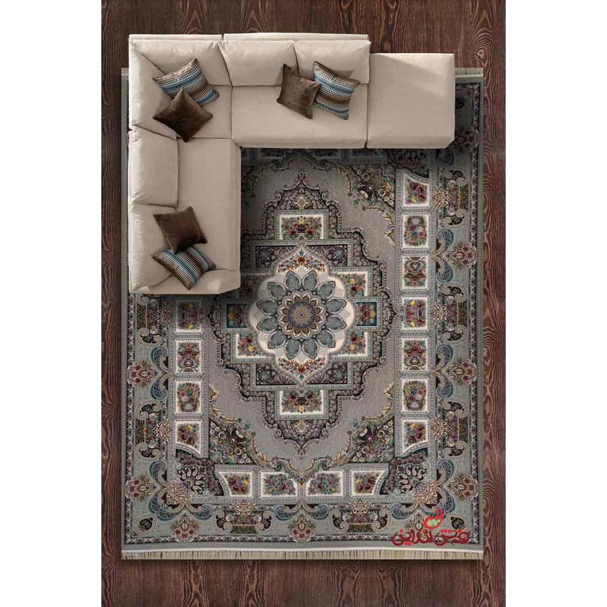 فرش ماشینی برین کاشان طرح حوض نقره نقره ای