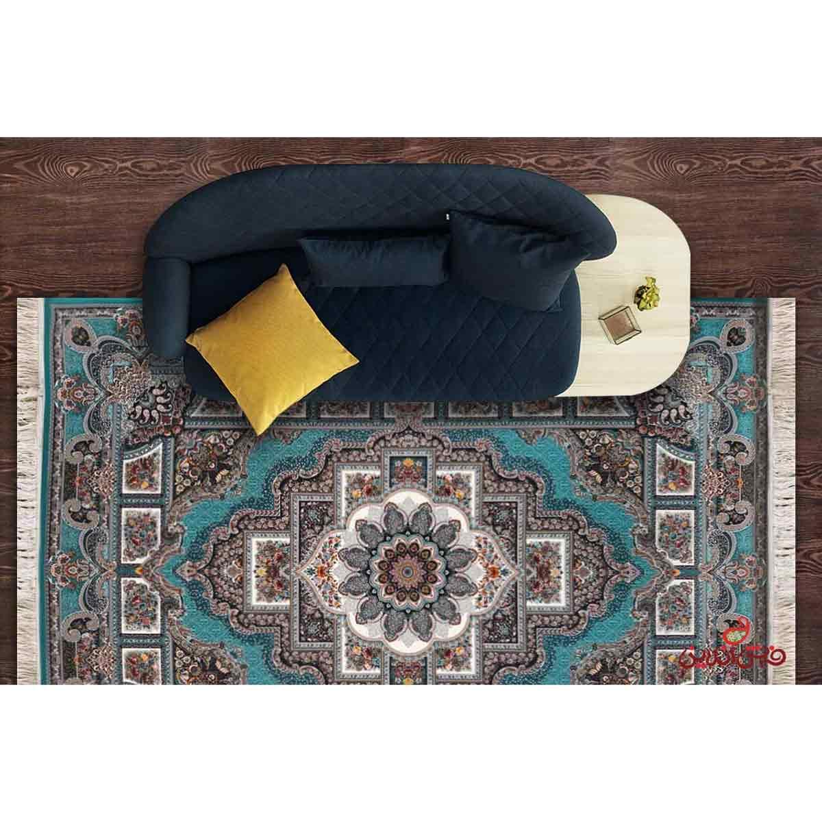 فرش ماشینی برین کاشان طرح حوض نقره آبی