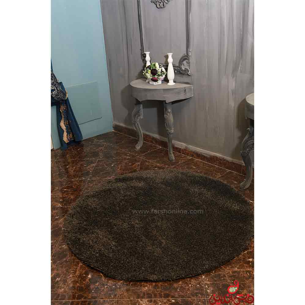 فرش گرد شگی نخ فلوکاتی ترک قهوه ای