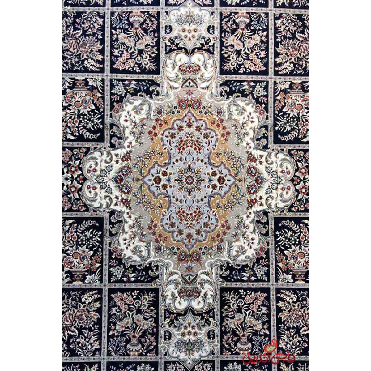 فرش ماشینی هایبالک مشهد اردهال کد 118 مشکی پرکلاغی