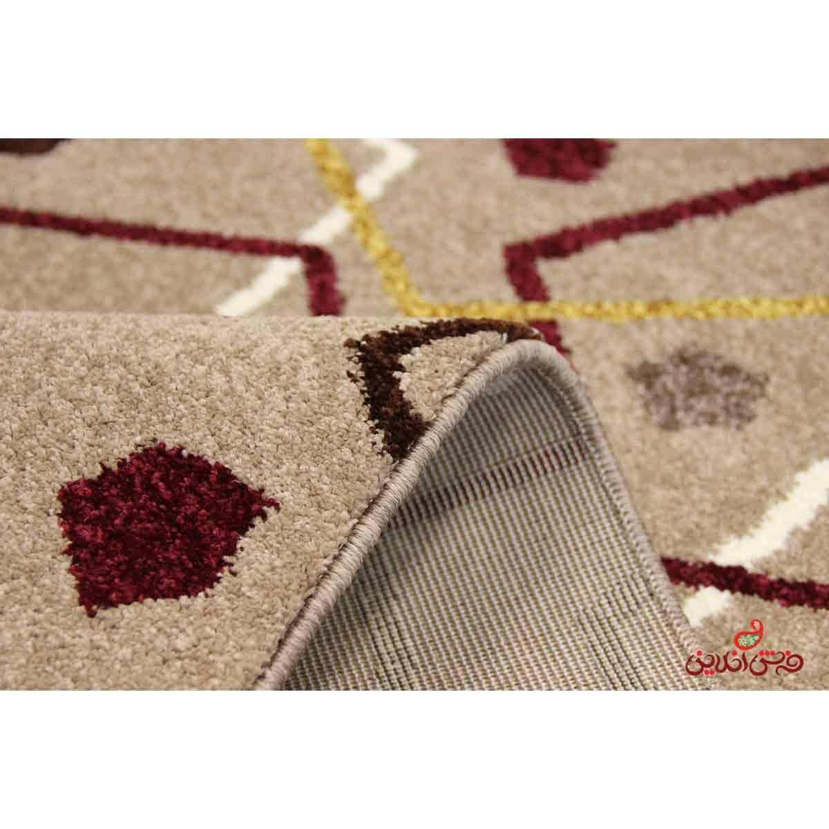 فرش ماشینی  ساوین طرح بیتا شکلاتی