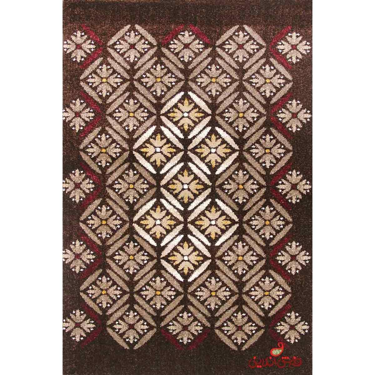 فرش ماشینی ساوین طرح رایان قهوه ای