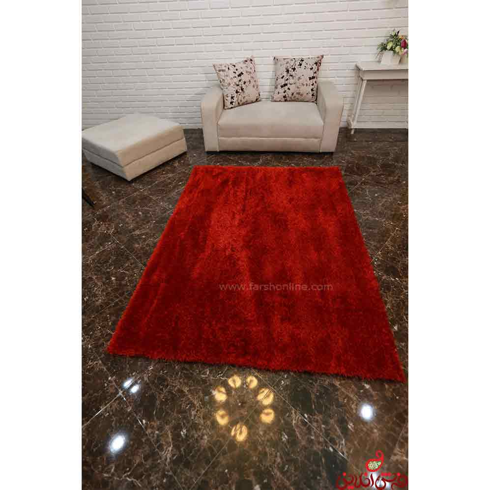 فرش شگی  نخ  میکرو ترک قرمز