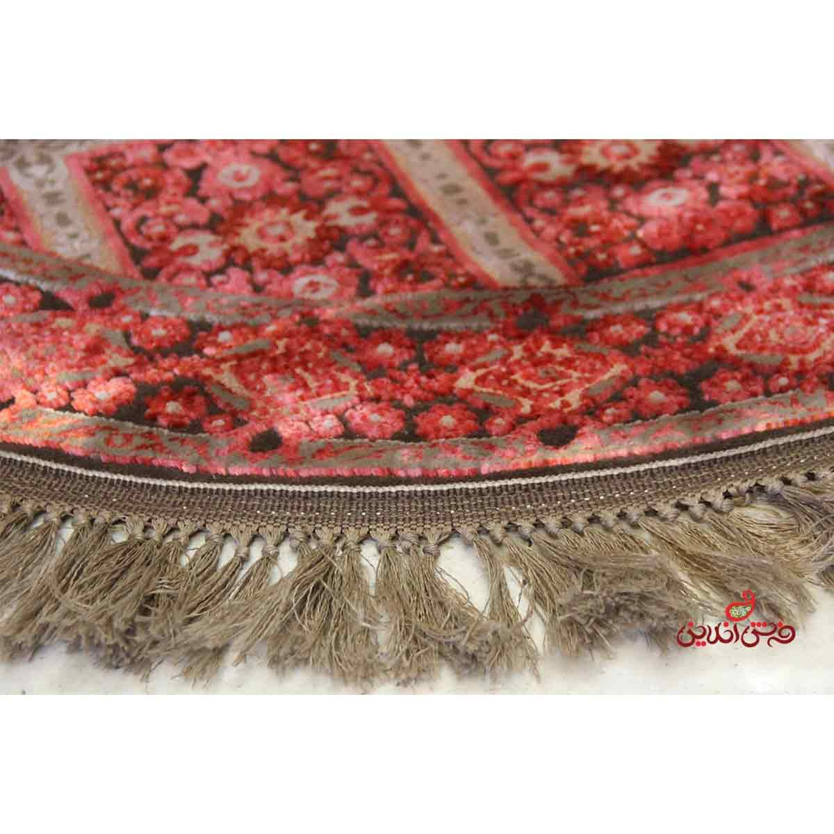 فرش گرد ماشینی عرش طرح بیژن فندقی قرمز