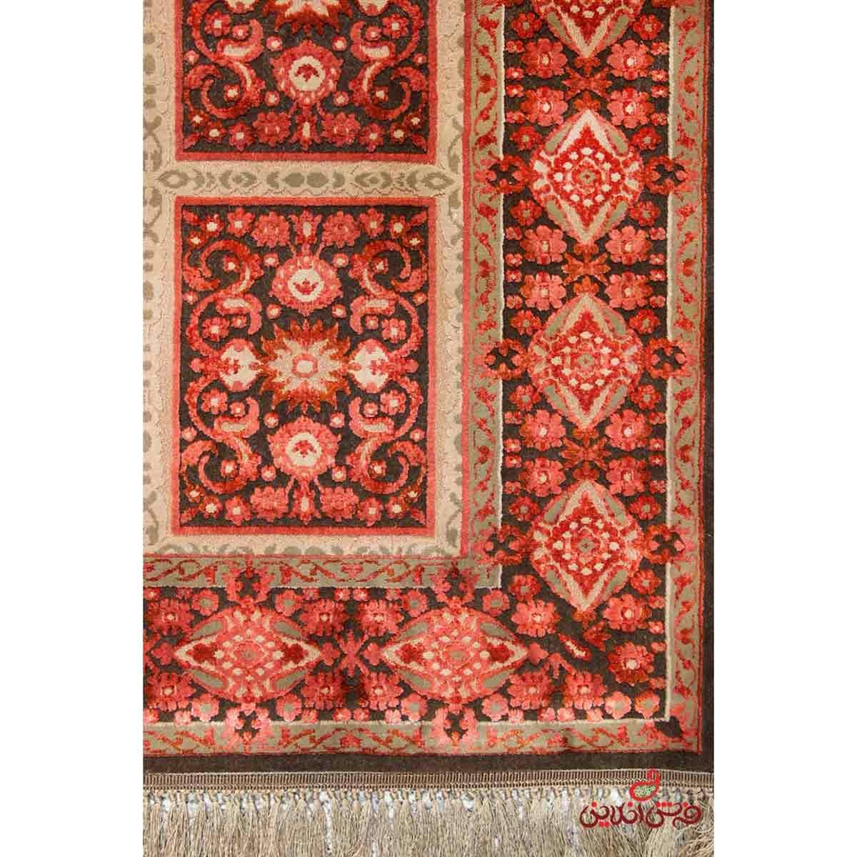 فرش ماشینی عرش طرح بیژن فندقی قرمز