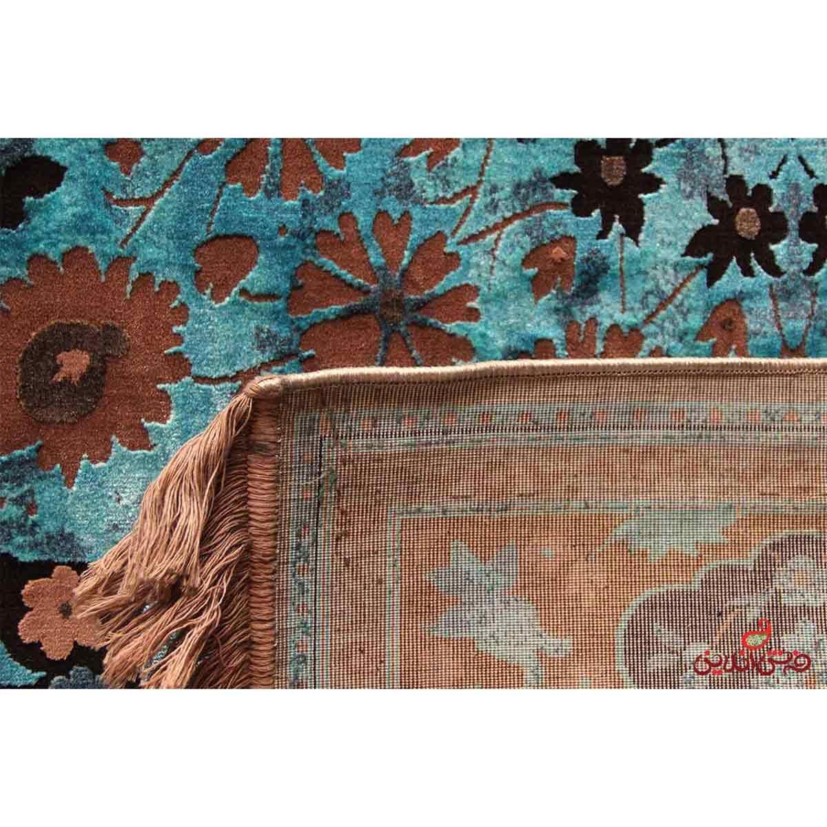 فرش ماشینی عرش طرح برین قهوه ای آبی