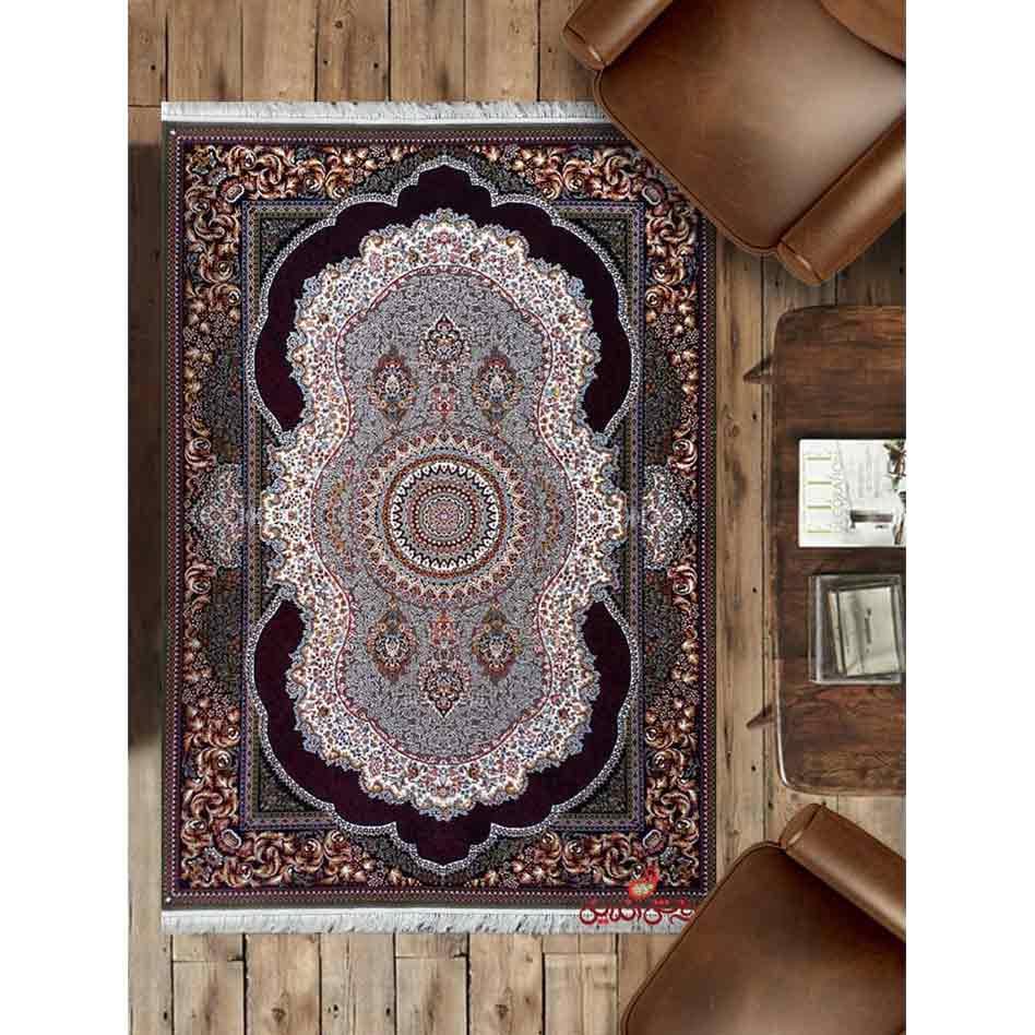 فرش ماشینی کاشان طرح کهربا رنگ سرمه ای
