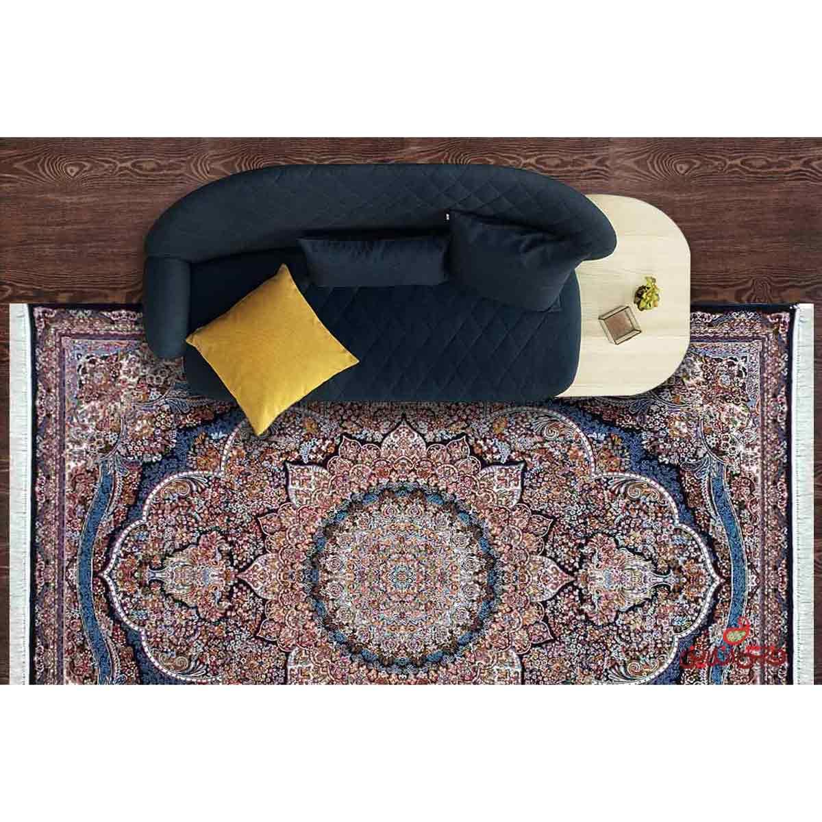 فرش ماشینی کاشان طرح پرهام سرمه ای