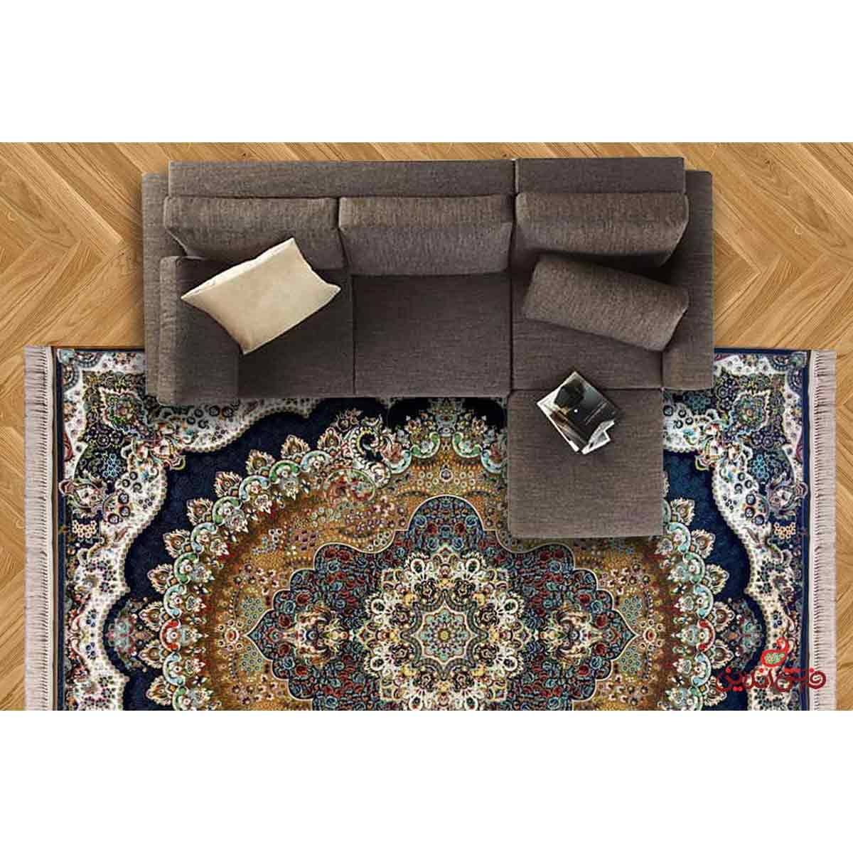 فرش ماشینی شاهکار صفویه طرح ارکیده گردویی