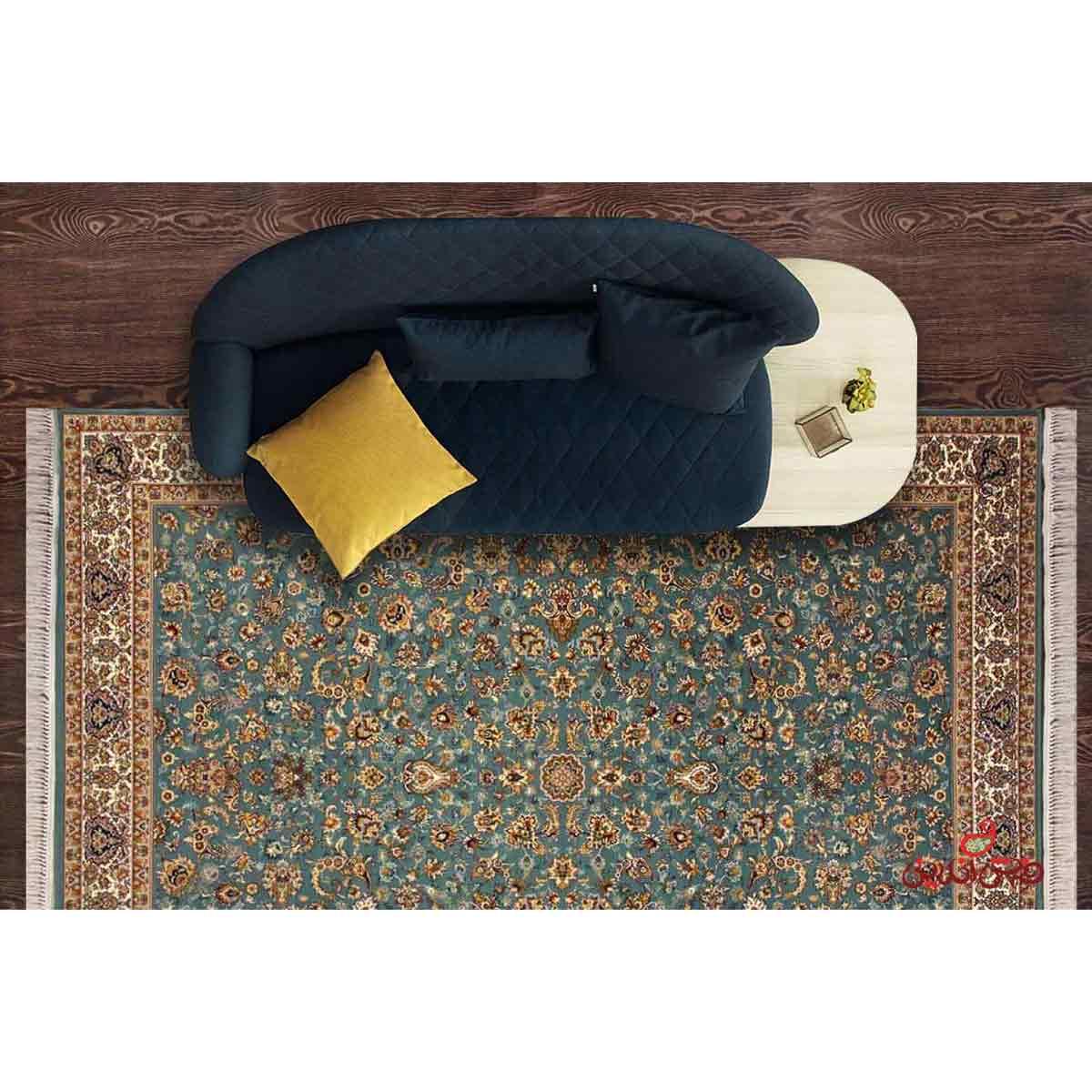 فرش نگین مشهد طرح 2591 رنگ آبی کرم