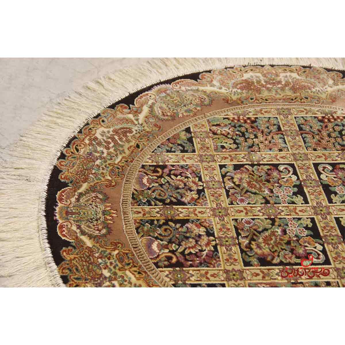 فرش گرد عرش طرح ماندگار مشکی