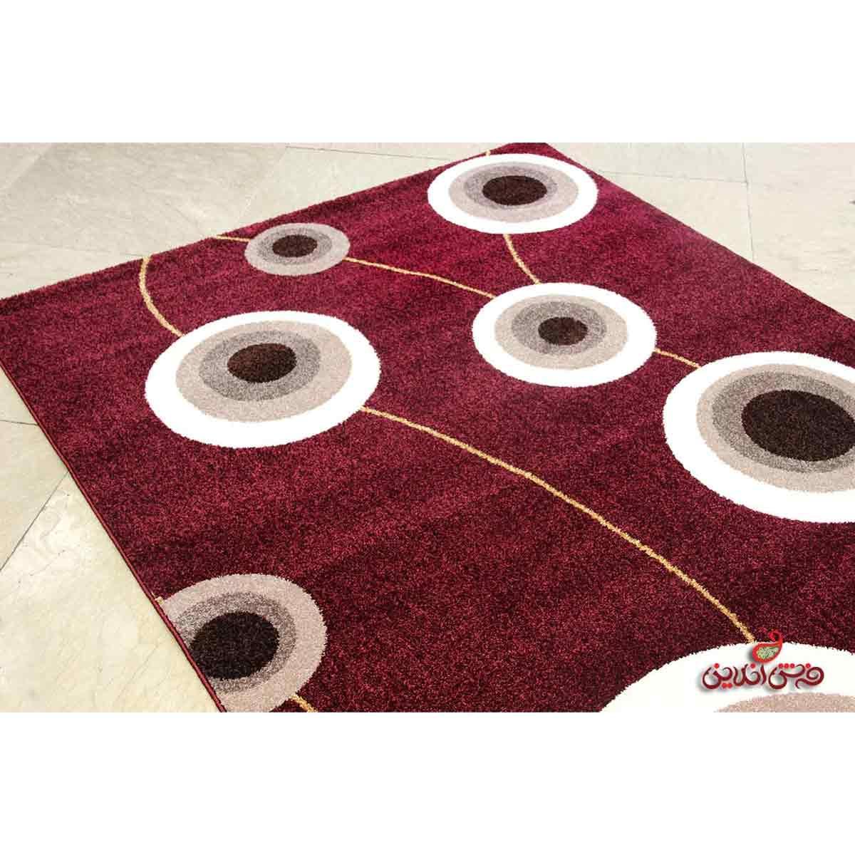 فرش  ماشینی ساوین طرح بهرنگ زرشکی