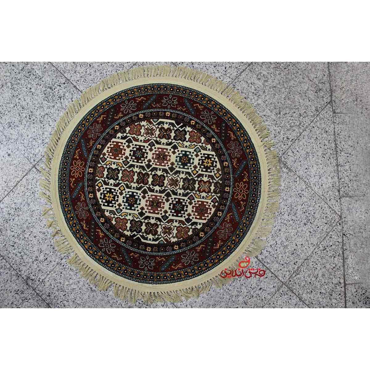 فرش گرد کرامتیان طرح ستاره کرم لاکی