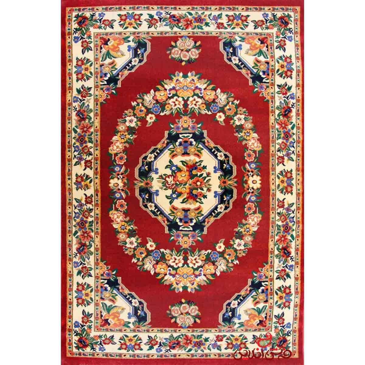 فرش پاتریس طرح گلاب عنابی