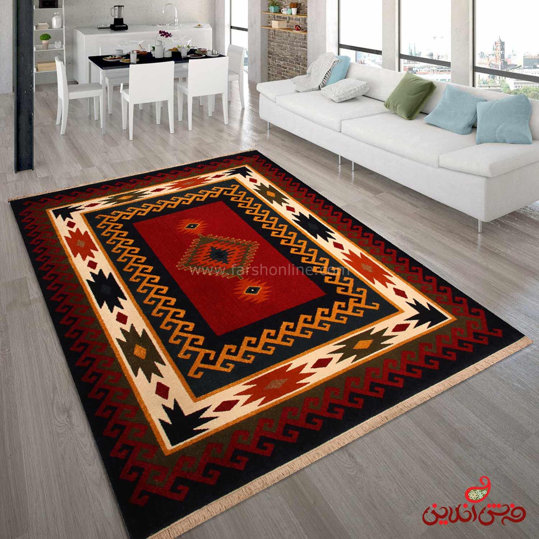 فرش  ماشینی ساوین طرح پامچال سرمه ای