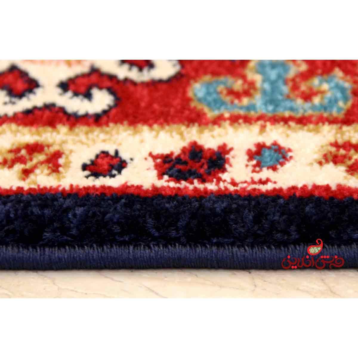 فرش ماشینی  ساوین طرح قشقایی سرمه ای