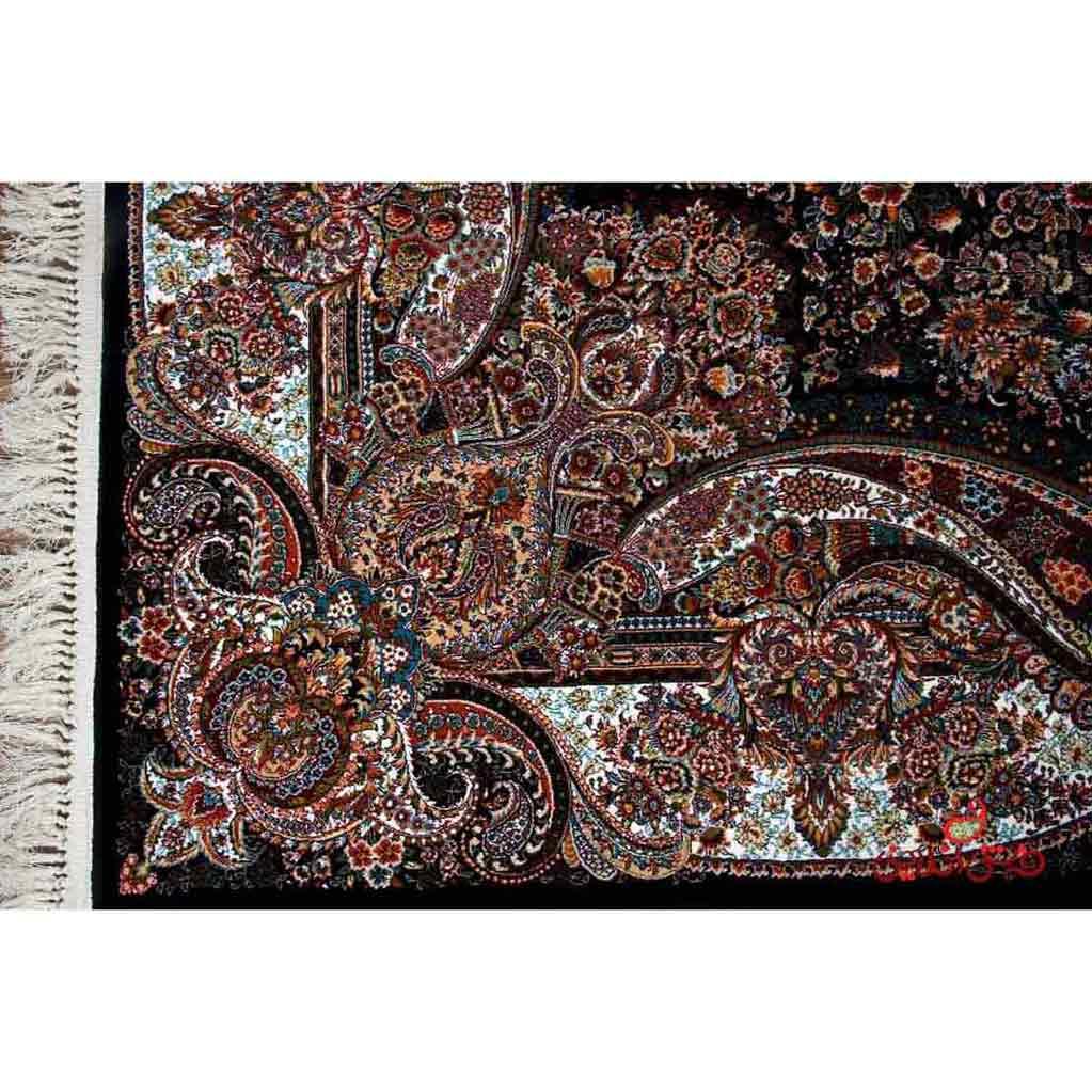 فرش ماشینی  ساوین طرح عقیق سرمه ای